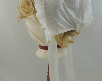 Regency Sprigged Muslin & Lace Day Cap 1795-1815, Jane Austen Era
