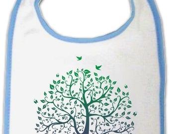Tree of life baby bib - Zen Nature - blue or pink