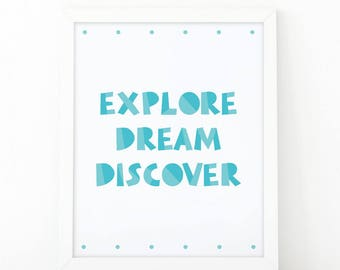 Explore Dream Discover, Nursery Wall art, instant downoad, quote Print, nursery decor, kids room decor, scandinavian print, nursery print