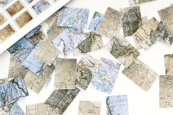 45 pcs vintage world map sticker antique map stamp sticker like this item gumiabroncs Gallery