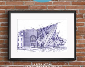 Royal Ontario Museum | Blueprints | Hand-drawn sketch of an architectural icon