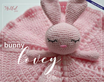 Bunny Lovey - Baby/toddler security blanket crochet pattern PDF