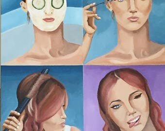 """Portrait of a Woman Getting Ready, 4 Part Portrait of a Woman, Masking, Hair & Makeup, large acrylic painting, 24"""" x 30"""""""