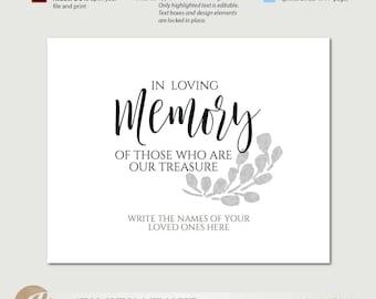 Memorial template etsy memorial sign wedding memorial in loving memory sign branch printable sign pronofoot35fo Choice Image