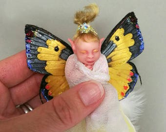 OOAK baby fairy, xmas tree decoration, Christmas tree decoration, elf art doll