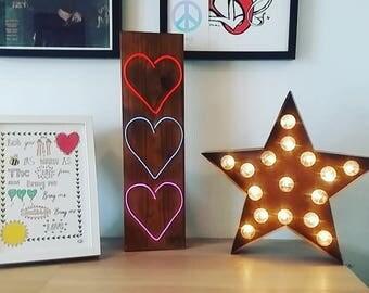 Neon Hearts Love Sign