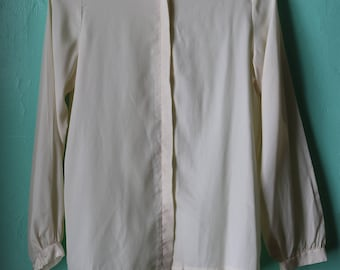 70s Ivory Silk Japanese Blouse with Lace Detail