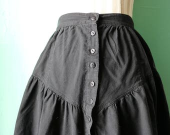 80s Black Witchy Cotton Button Up Skirt