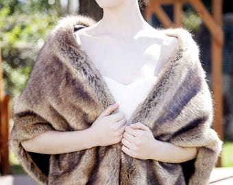 Brown faux fur bridal wrap, Wedding Fur shrug, Brown Fur Wrap, Bridal Faux FurStoleFur Shawl Cape,wedding faux fur wrap (Butterfly Brw02)