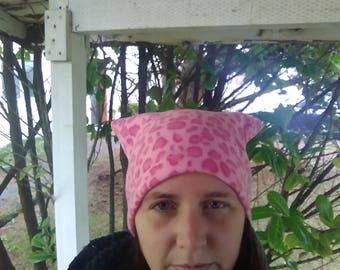 Pussyhat, pussy hat, Pink fleece, women's rights, beanie, women's march hat, polar fleece, pink, feminist, feminism, girl power, cheetah