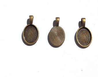 10PC. 14mm Oval Cabochon Setting//Antique Bronze Tone Plated Pendant Bezel Tray//Oval Bases Fit 14MM Glass Cabochon
