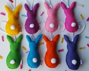 Rainbow rabbits-bunny decoration- easter bunny- easter rabbit- bunny decor- felt bunny-party favour