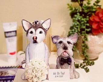 Clay Dog Cake Topper - Husky Cake Topper, Scottish Terrier Cake Topper, Wedding Cake Topper, Custom Cake Topper, Cake Toppers