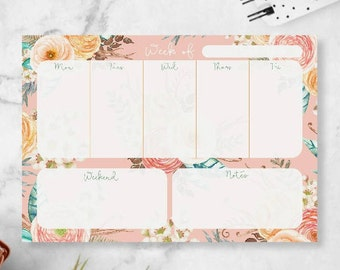 Weekly Notepad Planner - Small Weekly Agenda Notepad - Weekly Planner Memopad - Desktop Pad - Back To School Supplies - Boho Office Decor