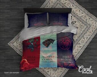 Game of Thrones Duvet Cover or Comforter. GOT families Bedding Set. King Queen Full Twin Single GOT beddings.