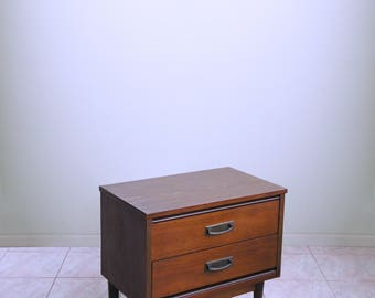 mid century modern nightstand ATOMIC mod 2 DRAWER hollywood regency PETITE chest