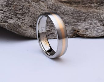 Handcrafted Titanium ring with 18kt red gold inlay, mens titanium wedding ring, womens titanium wedding band with brushed finish, mens ring