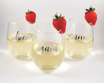 Personalised Horizontal Name Stemless Wine Glass