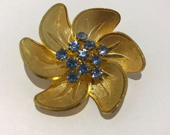 Old Czech brooch large flower with blue rhinestones. vintage 1960s jewelry