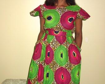 African Dress for women, Wax Print,  Midi Dress, Pink Dresses, Jupe Midi, Summer Dress