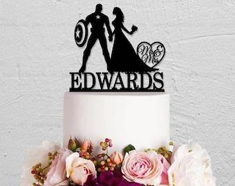 Wedding Cake Topper,Captain America Cake Topper,Bride And Groom Cake Topper, Mr Mrs Cake Topper,Custom Cake Topper With Last Name
