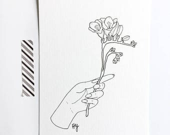Freesia Drawing, Flower Art, Botanical Illustration, Blossom Flora Art, Flower Drawing, Flora Print