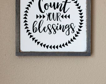 Count Your Blessings Framed Wood Sign, Gray Frame