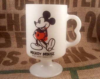 Misprint Mickey Mouse Footed Milk Glass Cup