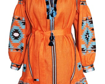 BEST PRICE! Orange Ukrainian embroidered with blue and white embroidery midi linen dress embroidery Folk Sarafan