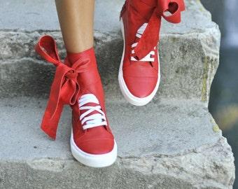 red GENUINE Leather tie sneakers/GENUINE Leather sneakers/genuine leather tie shoes/red leather socks