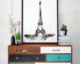 Modern Paris painting wall art Eiffel Tower Home decor contemporary artwork art print poster Watercolour art print living room interior