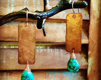 Turqouise and Cooper Rectangle Earrings