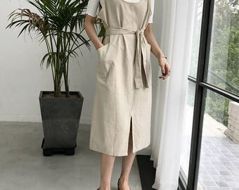 Pocket wrap dress -Cotton Wrap Dress-Natural loose Dress