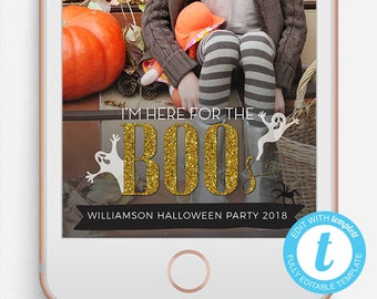 Halloween Snapchat Filter, Halloween Snapchat Geofilter, Editable Snapchat Filter, Templett, Here for the Boos, Boos Snapchat filter