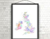 British Isles river basins in rainbow colours (high resolution digital print) map print, wall art, poster map, home decor, wall decor, gift