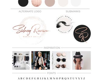 Premade Branding Kit, Makeup Logo Set, Rose Gold Logo Design, Business Logo Branding Package, Makeup Artist Logo, Beauty Logo Kit, Watermark