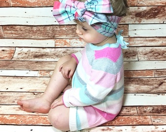 Mint Plaid Headwrap- Headwrap; Head Wrap; Mint Headband; Plaid Headband; Mint Headwrap; Plaid Headwrap; Mint Bow; Plaid Bow; Mommy and Me