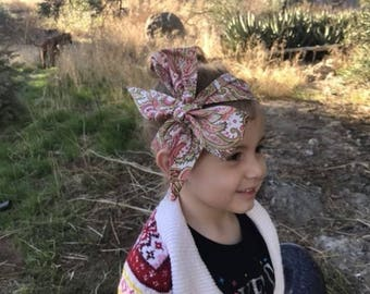 Paisley Headwrap- Headwrap, Paisley Headband; Paisley Bow; Flower Headband; Flower Headwrap; Head Wrap; Flower Bow; Mommy and Me Headbands