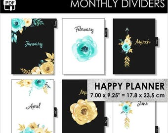 Monthly Happy Planner Classic Dividers Inserts 12 Month Tabs Flowers Mint and Gold Boho Arrows Year Arc Planner Pdf Download PRINTABLE