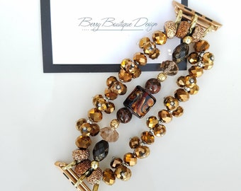 """Apple Watch Band 38mm, Apple Watch  Band 42mm, Copper colored Crystals w/ Chocolate Brown Lampwork Beads, Style """"Summer in the City"""""""