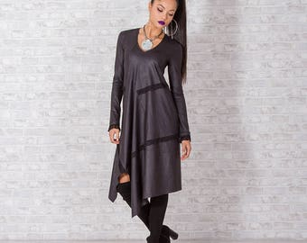 Extravagant Dress/ Woman Dress/ Long Dress/ Long Sleeve Dress/ Faux Leather Dress/ Asymmetrical Dress/ Maxi Dress/ Friends Fashion