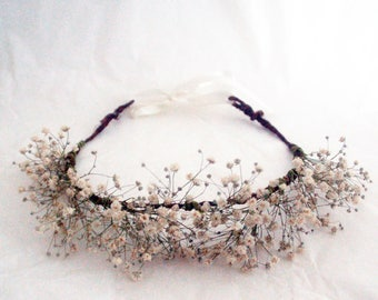 Babys breath flower crown - J&T accessories - hair accessory for bride, bridesmaid, flower girl, adjustable for women or children (from 5)