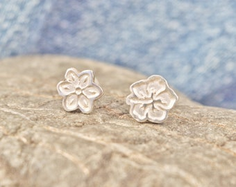 Flower earrings, mismatched earrings, tiny stud earrings, studs earrings, sterling silver stud earrings, dainty earrings, minimal earrings
