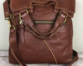 Lucky brand abbey road lamb leather crossbody bag/ brown leather/ messenger bag