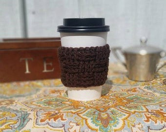 Basketweave Cup Cozy - Dark Chocolate Crochet Cup Sleeve - Neutrals Everyday Cup Sleeve