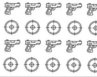 Target Shooting Stickers, Practice Stickers, Gun Stickers, Planner Stickers