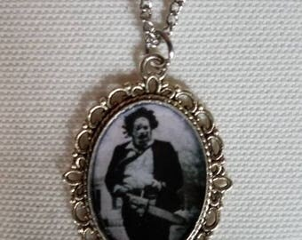 Leatherface in antique frame pendant necklace