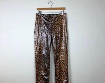 Vintage Leopard Print Pants Size 28, Vinyl Pants, Animal Print Pants, Lip Service Pants