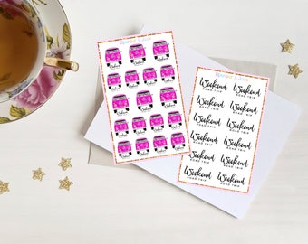 WEEKEND ROAD TRIP Planner Stickers - Cute Pink vw Hippy Van Weekend Escape Trip, Vacation Time, Journey, Travel Functional Stickers