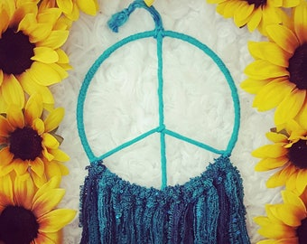 dreamcatcher, dream catcher, nursery baby dreamcatcher, personalized baby shower gift, small bohemian peace sign teal turquoise dreamcatcher